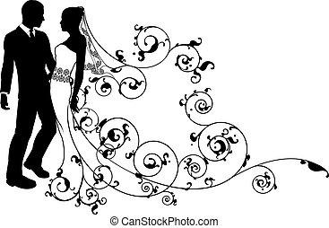 couple, palefrenier, mariage, mariée, silhouette