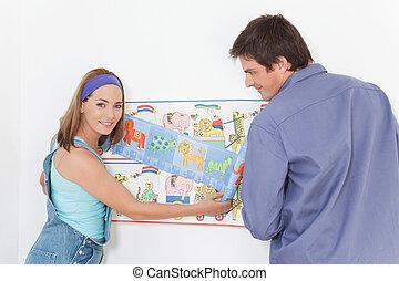 couple, papier peint, heureux
