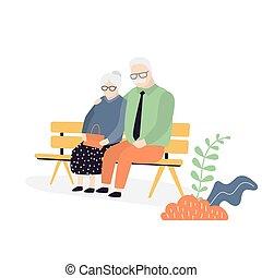 couple., papy, séance, grand-mère, bench., personnes agées