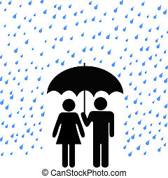 couple, parapluie, assurer, pluie