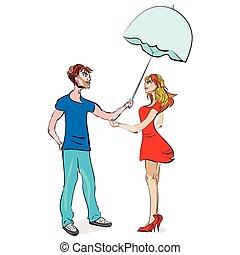 couple, parapluie, sous