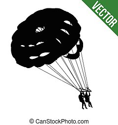Couple parasailing silhouette on white background, vector...