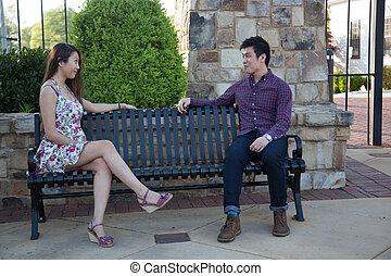 couple, parc, asiatique, banc