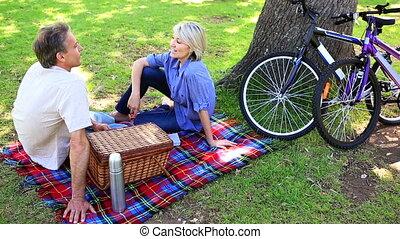 couple, parc, avoir pique-nique, heureux