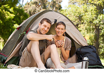 couple, parc, camping