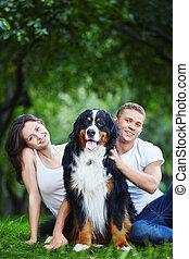 couple, parc, chien