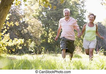 couple, parc, courant, tenant mains, sourire