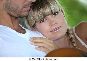 couple, parc, délassant
