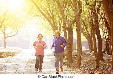 couple, parc, exercisme, asiatique, personne agee, heureux