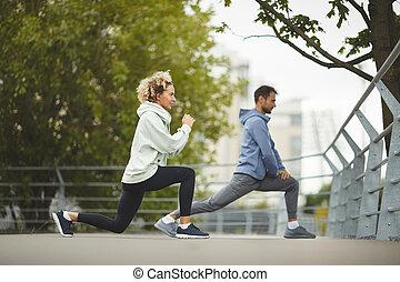 couple, parc, exercisme