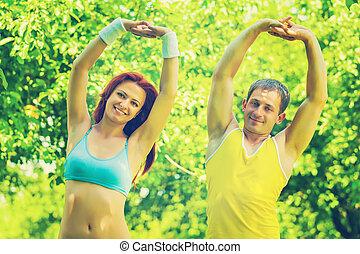 couple, parc, exercisme, sportif, champ, inst, sportive