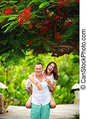 couple, parc, fleurir, amusement, avoir, heureux