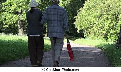 couple, parc, gens âgés