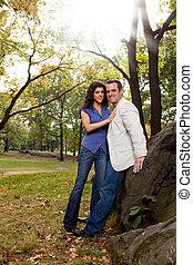 couple, parc, heureux