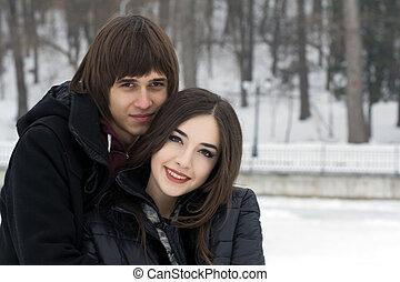 couple, parc, hiver, jeune