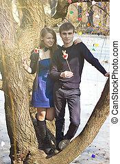 couple, parc, jeune adulte