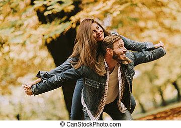 couple, parc, jeune, automne, amusement, avoir, aimer