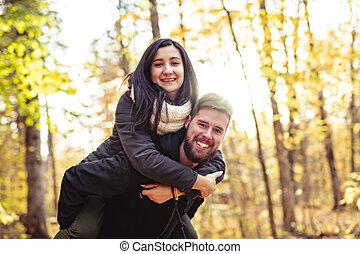 couple, parc, jeune, automne, amusement, avoir