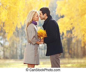 couple, parc, jeune, automne, baisers, portrait, aimer