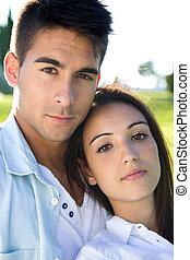 couple, parc, jeune, caucasien