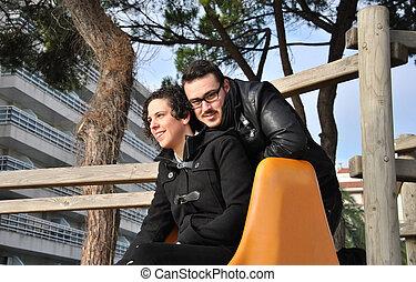 couple, parc, jeune