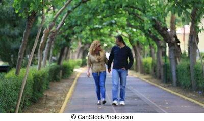 couple, parc, marche, heureux