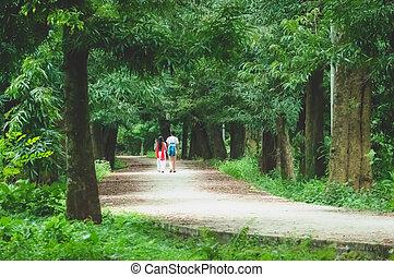 couple, parc, marche