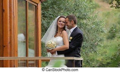 couple, parc, mariage