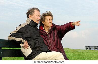 couple, parc, personne agee, banc