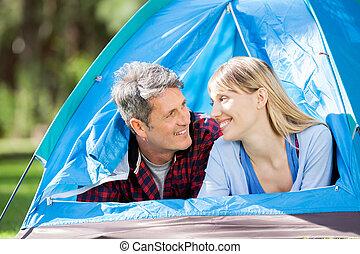 couple, parc, romantique, tente