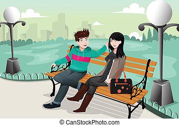 couple, parc, romantique