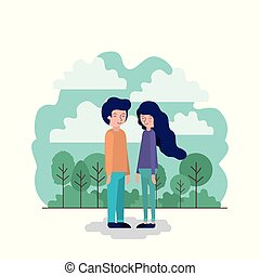 couple, parc, scène