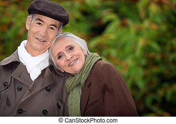 couple, park., mûrir