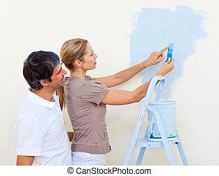 couple, peinture, ensemble, heureux