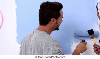 couple, peinture, jeune