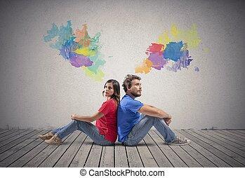 couple, pense