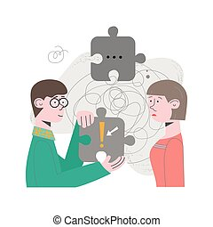 Couple, people, team are problem solving, looking for solution to the task. Concept vector illustration with puzzles, brainteaser
