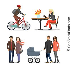 Couple People with Pram Family Isolated Vector
