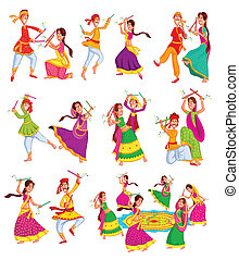 Couple performing Dandiya - Couple performing dandiya and...