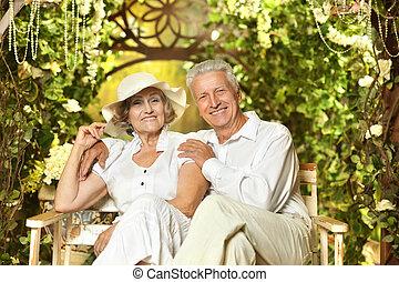 couple, personne agee, jardin