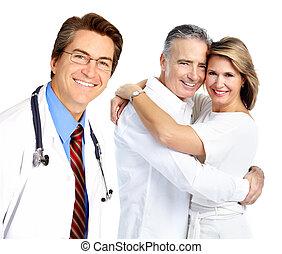couple., personnes agées, docteur