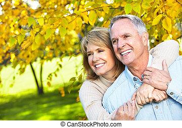 couple., personnes agées, heureux