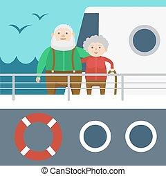 couple, personnes agées, vecteur, bateau croisière, dessin animé