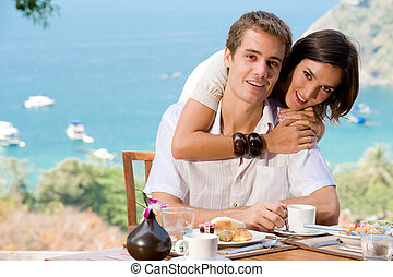 couple, petit déjeuner