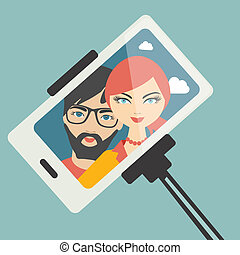 couple, photo., selfie, jeune