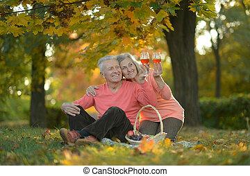 couple, pique-nique, avoir, mûrir, heureux