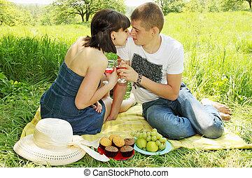 couple, pique-nique