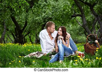 couple, pique-nique, enamoured