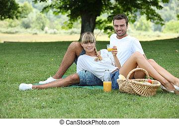 couple, pique-niquer, dans campagne