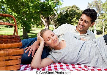 couple, pique-niquer, dans parc